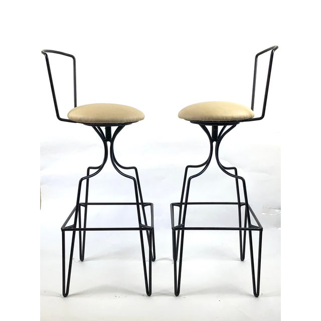 Frederick Weinberg Mid Century Wrought Iron Swivel Bar Stools - a Pair For Sale - Image 4 of 10