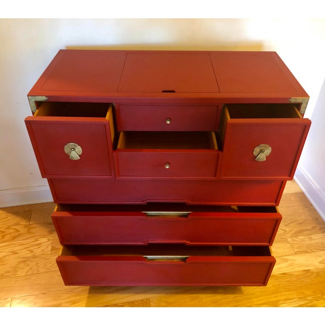 Mid-Century Campaign 1960's Drexel Dresser For Sale - Image 10 of 11