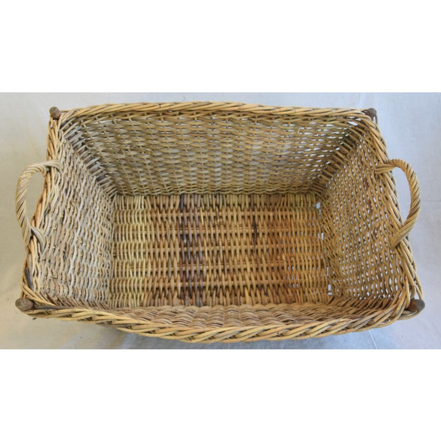 Large Early 1900s French Woven Wicker/Willow Market Basket For Sale - Image 4 of 11