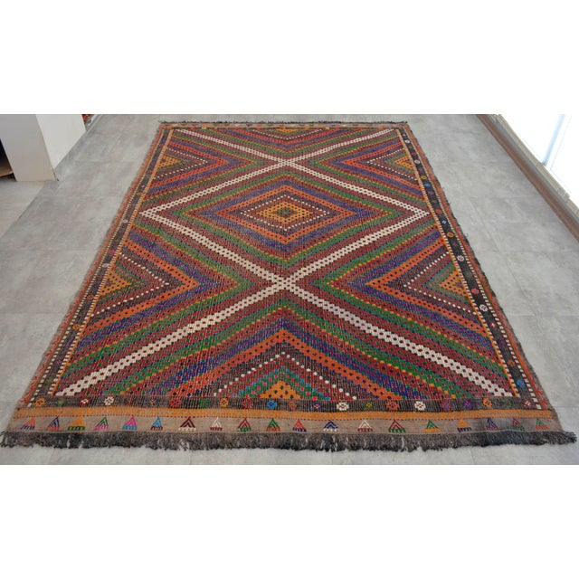 "Hand Woven Turkish Kilim Area Rug - 6'9"" X 9'6"" - Image 3 of 9"