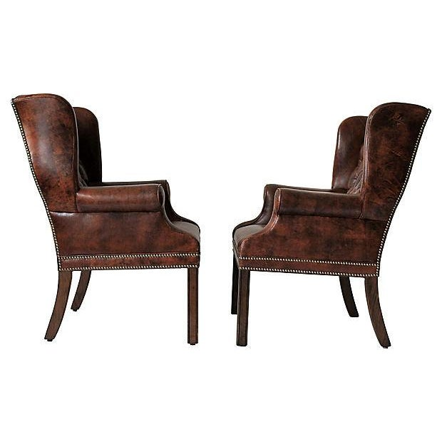 Tufted Leather Wingback Chairs - A Pair - Image 3 of 10