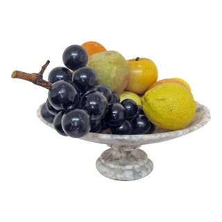 Marble Tazza With Marble and Alabaster Fruit For Sale