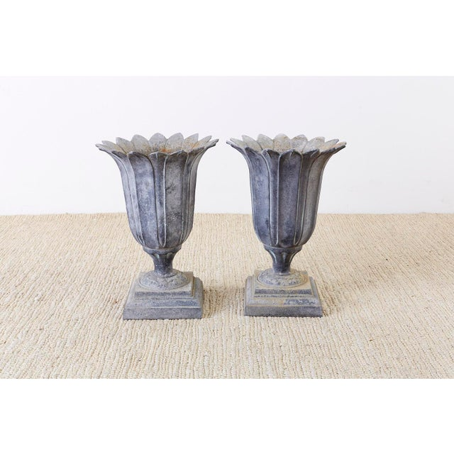 Pair of French Neoclassical Tulip Form Garden Urn Planters For Sale - Image 12 of 13
