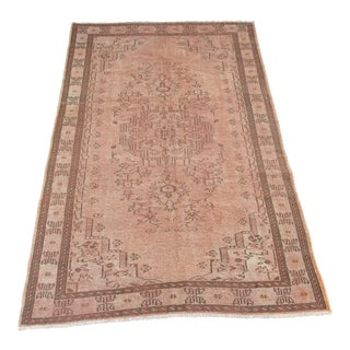"Turkish Vintage Oriental Design Handmade Area Rug - 5'2"" x 8'3"""