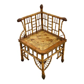 Vintage Bamboo Corner Chair For Sale