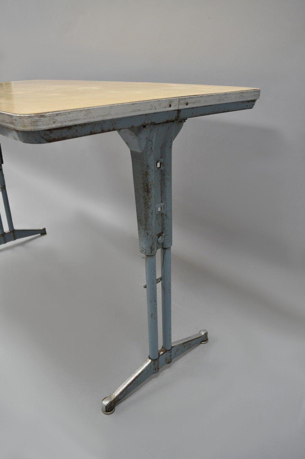 Vintage Industrial Steel Metal Laminate Work Table   Image 4 Of 11