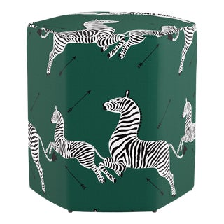 Hexagonal Ottoman in Emerald Zebra By Scalamandre For Sale