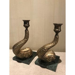 Midcentury Modern Large Brass Koi Candlesticks on Green Marble Bases - a Pair Preview
