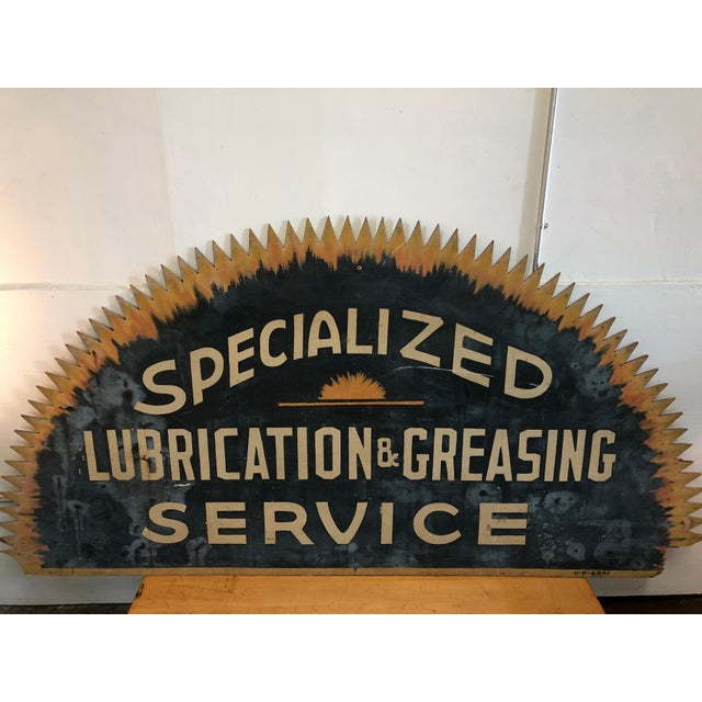 Vintage 'Specialized Lubrication & Greasing Service' Automotive Sign For Sale In New York - Image 6 of 6