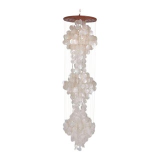 Large Verner Panton Style 1970s White Capiz Shell Hanging Chandelier