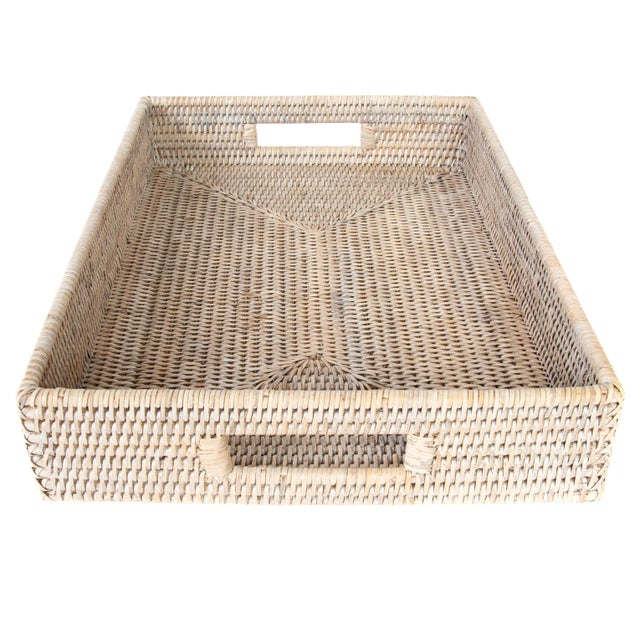 Boho Chic Artifacts Rattan Rectangular Tray With Cutout Handles For Sale - Image 3 of 6