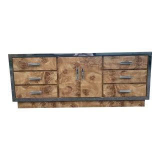 Burlwood Laminate Lowboy Dresser with Chrome Accents For Sale