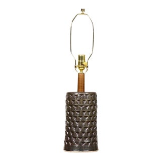 Christian Boehr Ceramic Stoneware Table Lamp - Large Delta Pattern — Dark Green Glaze — L4 For Sale