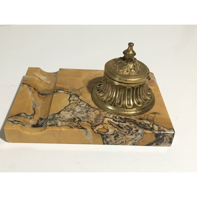 Metal Antique French Gilded Bronze & Marble Inkwell For Sale - Image 7 of 13