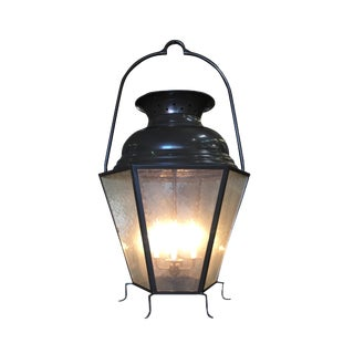 Large Octagon Bronze 4 Light Lantern Chandelier W/ Handle For Sale