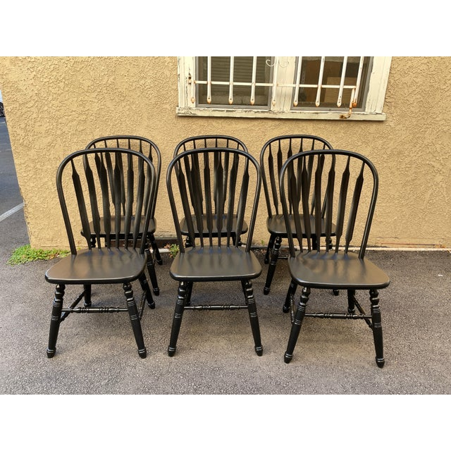 Set of 6 Black Stained Windsor Chairs For Sale - Image 12 of 12