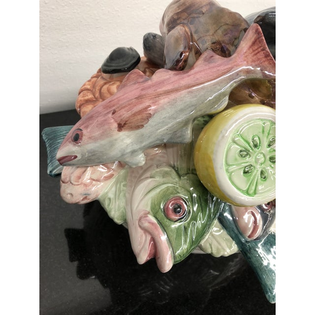 Majolica Vintage Italian Majolica Hand-Painted Fish Centerpiece Tureen For Sale - Image 4 of 13