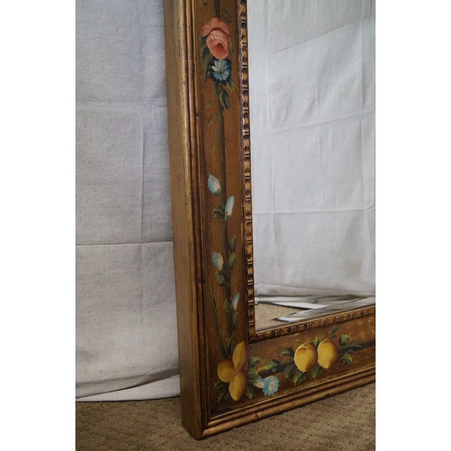 Blue Floral Hand Painted Gilt Frame Beveled Wall Mirror For Sale - Image 8 of 10