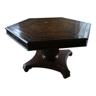 Leather Stitched Top Game Table For Sale