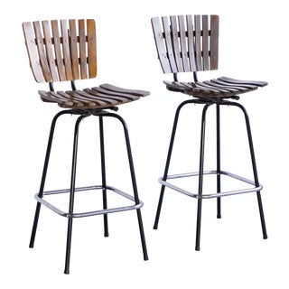 Arthur Umanoff Style Wood and Metal Stools - a Pair For Sale