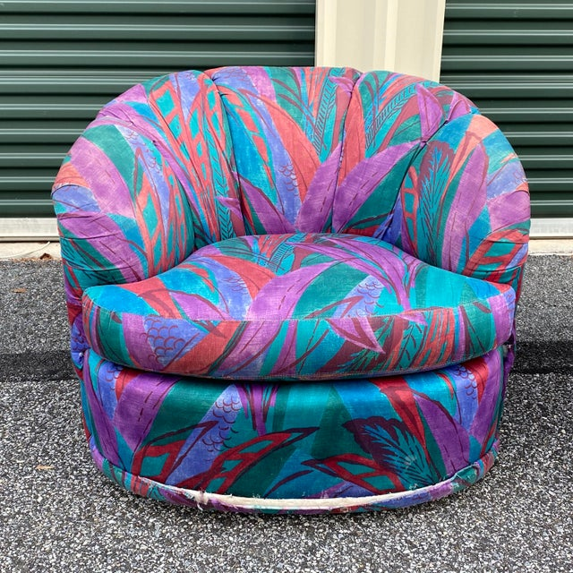 A wild pair of 80s modern swivel chairs by American of Martinsville!