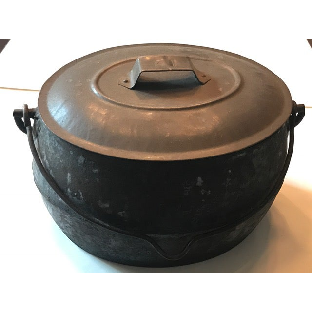 Vintage Large Rustic Cast Iron Dutch Oven - Image 2 of 9
