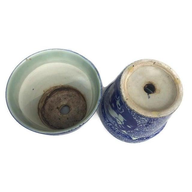 Vintage Cobalt Blue Porcelain Chinoiserie Planters - A Pair - Image 4 of 7