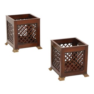 Maitland Smith Mahogany Chippendale Planters - Pair For Sale