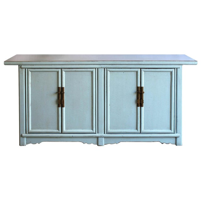 Lacquer Asian Modern Baby Blue Lacquer Sideboard For Sale - Image 7 of 7