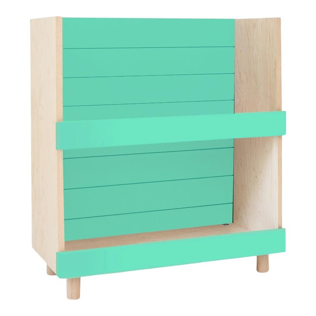 "Nico & Yeye Minimo Modern Kids 31"" Bookcase in Hardwood and Mint For Sale"