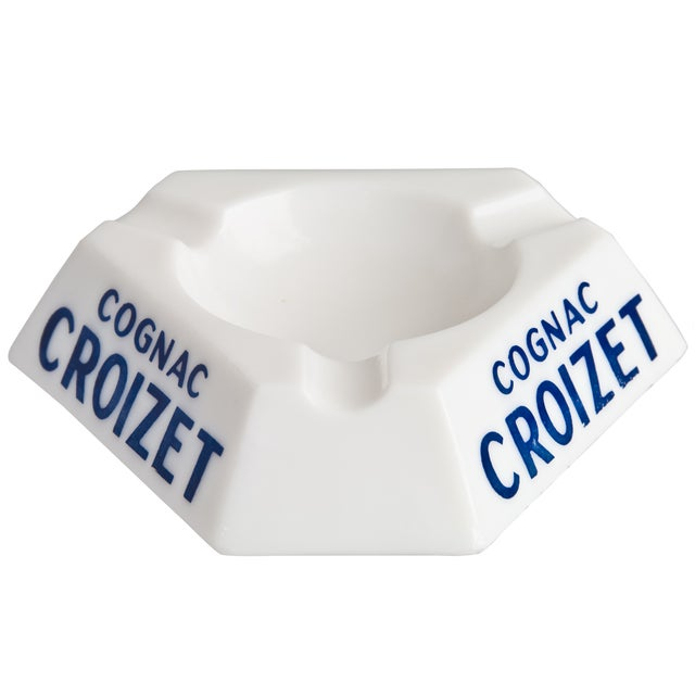 Vintage French Croizet Cognac Milk Glass Ashtray - Image 1 of 3