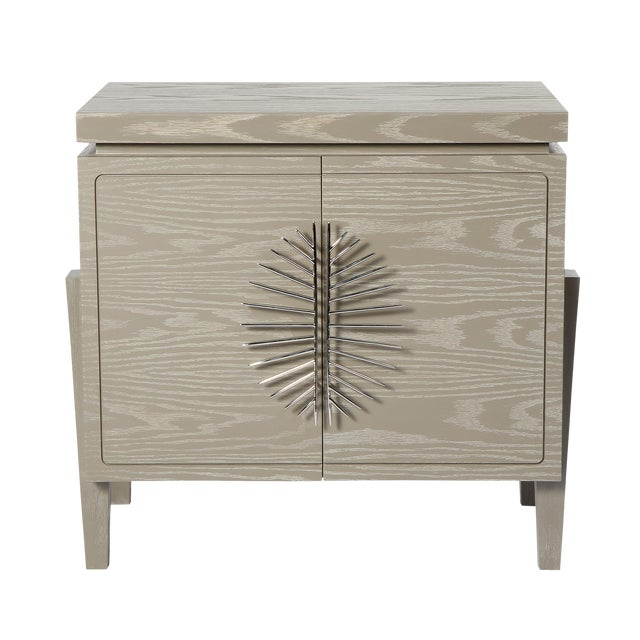 Philippe Nightstand With Doors (Cerused Latte) For Sale