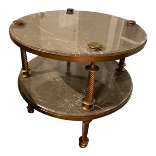 Watch Hill Round Side Table With Stone Top For Sale