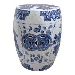 Asian Blue & White Glazed Ceramic Garden Stool