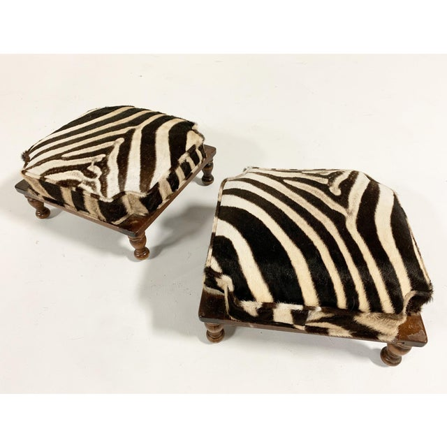 Animal Skin Vintage Footstools Restored in Zebra Hide - Pair For Sale - Image 7 of 7