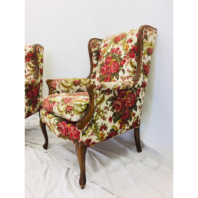 Textile Vintage Floral Chintz Armchairs - A Pair For Sale - Image 7 of 11