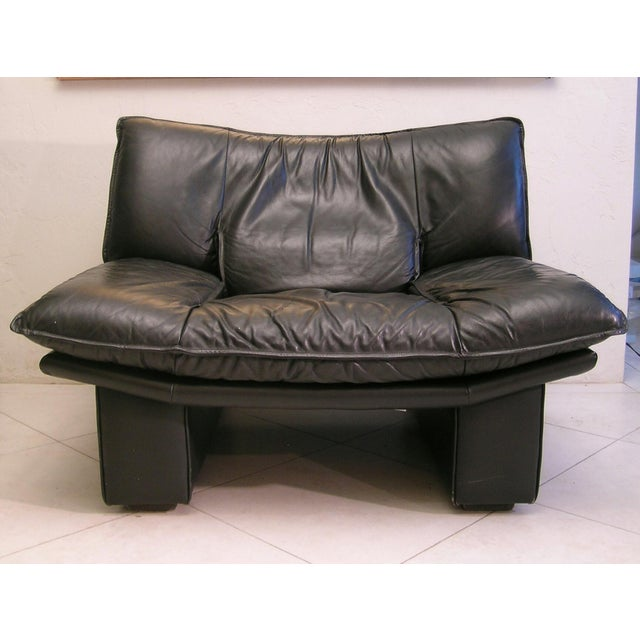 Nicoletti Salotti Italian Mid Century Modern Black Leather Lounge Chair For Sale - Image 13 of 13