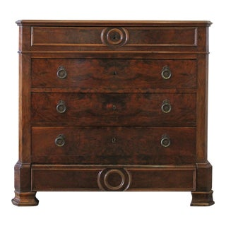 19th Century Empire Style Inlay Marble Top Chest of Drawers For Sale