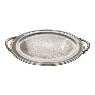 Early 20th Century Silver Plate Oval Butler Handled Serving Tray by Oneida Silversmiths For Sale