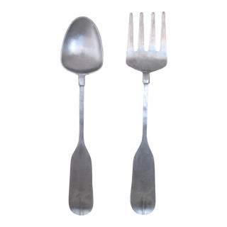 1970s Vintage Oversized Aluminum Fork and Spoon Wall Art - 2 Pieces For Sale