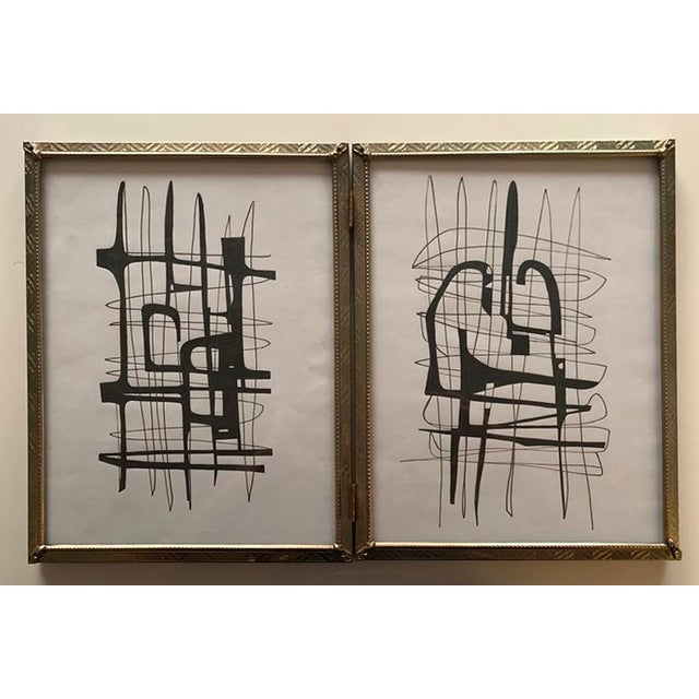 Original Abstract Framed Black and White Drawings - Set of 2 For Sale - Image 4 of 4