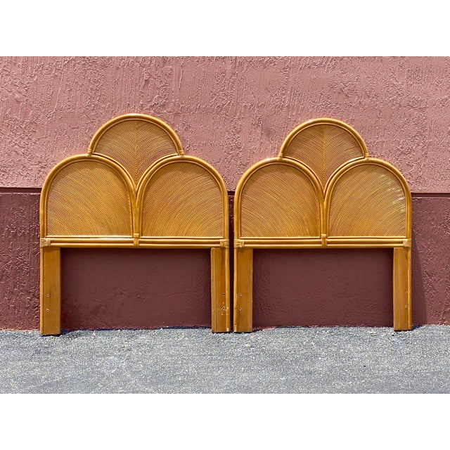 Contemporary Vintage Pencil Reed Headboards - a Pair For Sale - Image 3 of 13