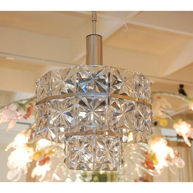 1960s Single light ceiling chandelier fixture nickel plated finish frame