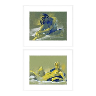 Figure 5 & 10 Diptych by David Orrin Smith in White Frame, Medium Art Print For Sale
