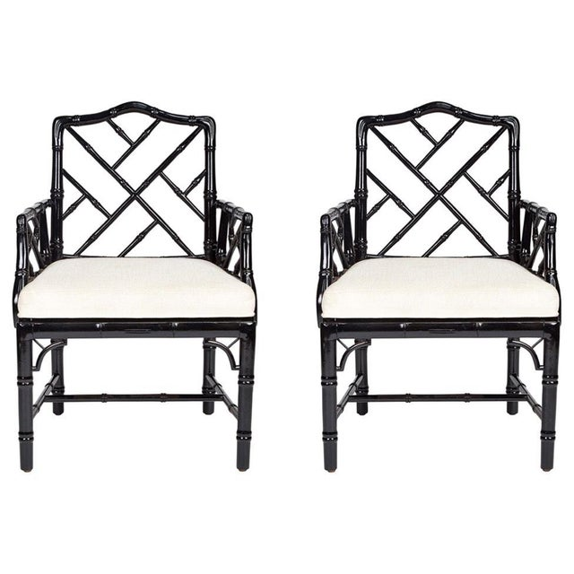 Jonathan Adler Black Lacquered Faux Bamboo Chippendale Chairs, Pair For Sale - Image 13 of 13