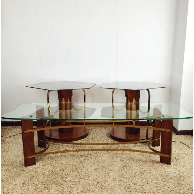 Mid-Century Wood and Glass Coffee & Lighted Side Table 3 Pc Set For Sale - Image 5 of 11