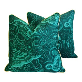 Tony Duquette-Style Jim Thompson Malachite Pillows - a Pair For Sale