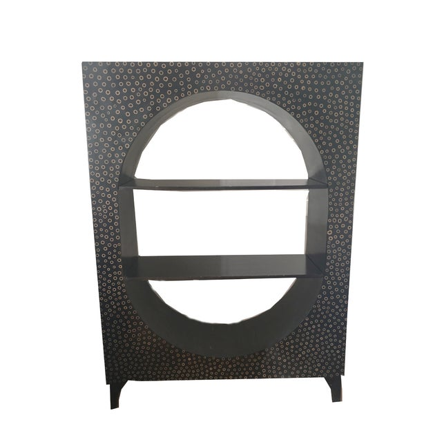 Modern Ebony Wood & Bamboo Curio Bookshelf - Image 2 of 3