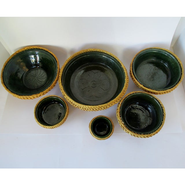 Late 20th Century Ceramic & Wicker Nesting Bowls, Set of 6 For Sale - Image 5 of 9