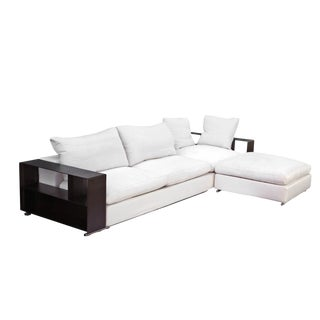 "Flexform ""Groundpiece"" Modular Sofa with Leather Armrest/Shelves, Made in Italy"